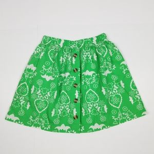 Hanna Andersson 120 green white button down skirt